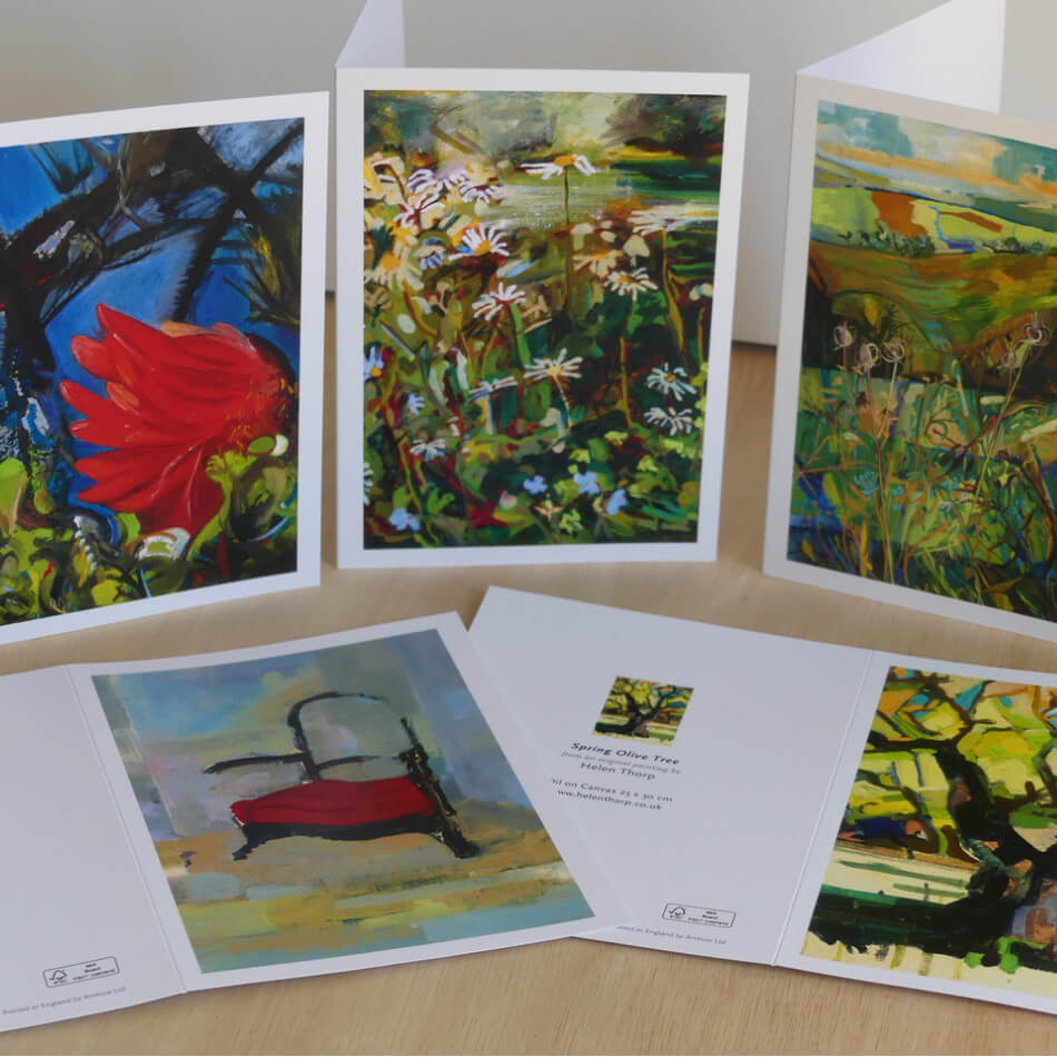 A selection of five printed cards with paintings by Helen Thorp