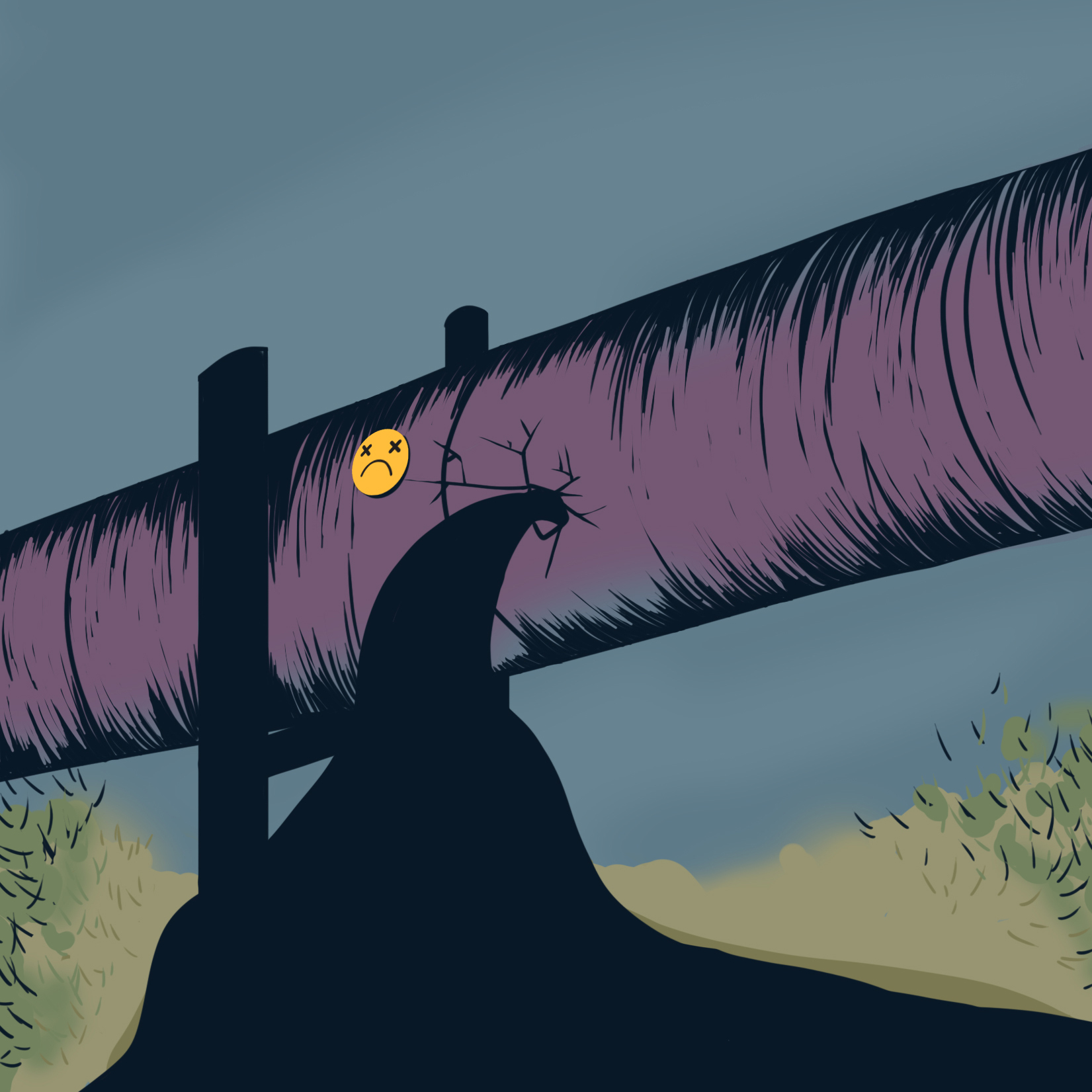 A purple pipeline with a gasoline coming out from the pipeline. The gasoline is black and flowing into the rivers and lakes in Canada.