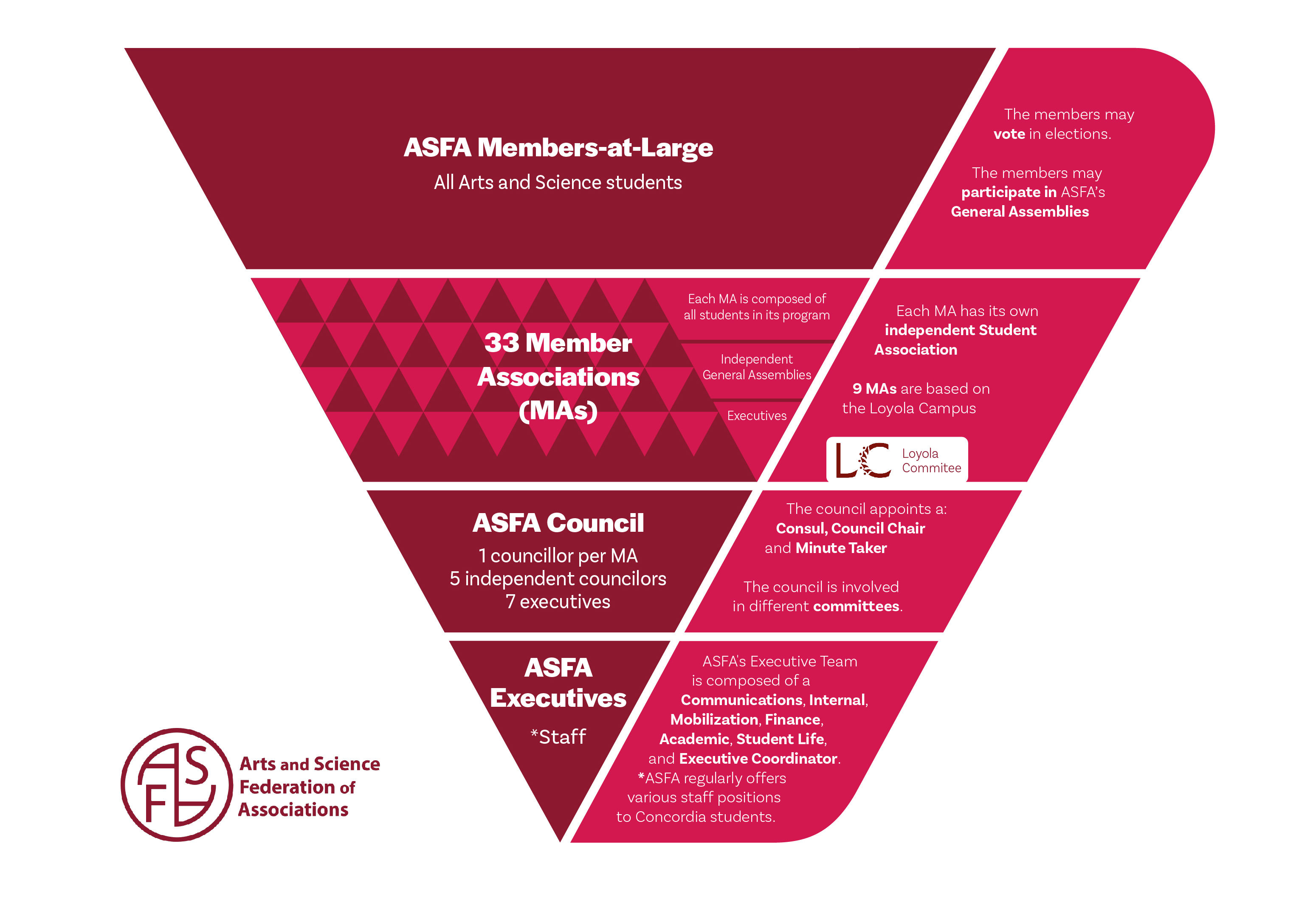 Inverted pyramid infographic of the roles at ASFA. Top of the chart are ASFA Members-at-Large. Below are 33 member associations (MAs). Below is the ASFA council and bottom is ASFA executives. Staff is at the bottom, but do not hold any decisive power.