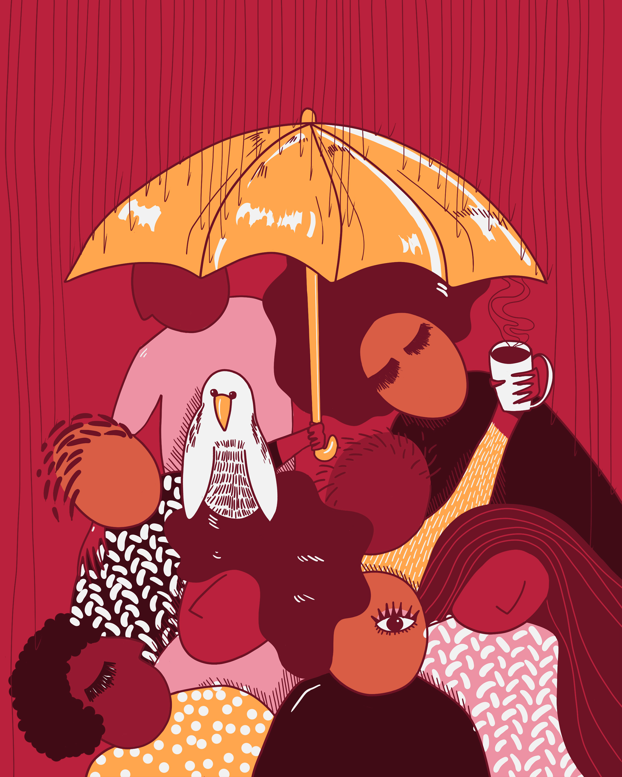Illustration by Stefanie Auger-Roy. The illustration features 8 characters together holding an orange umbrella on a bright burgundy background.