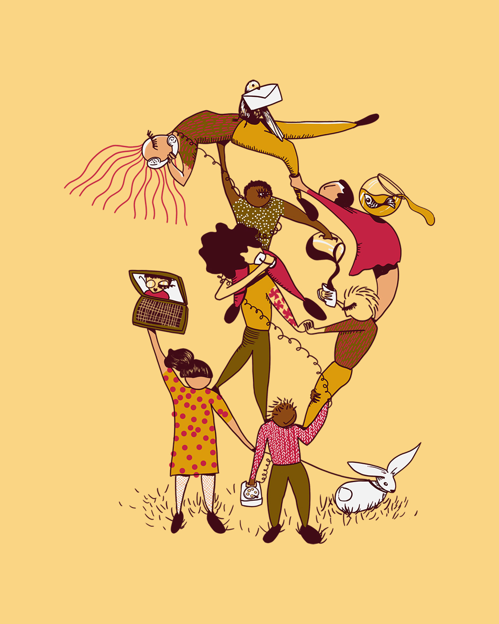 Illustration by Stefanie Auger-Roy. Featuring a group of 8 students forming a pyramid. They are holding each other, supporting each other. The background is yellow.