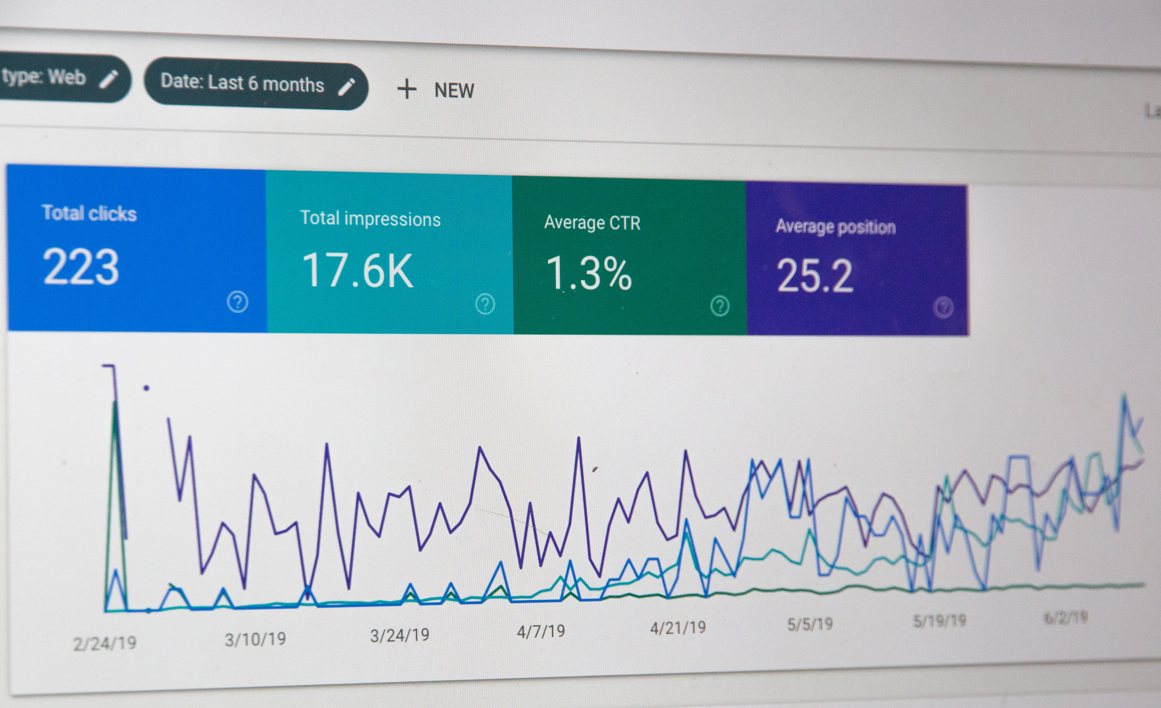 Screenshot of Google Webmaster Tools dat over the last 6 months.