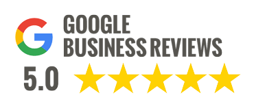 Google business reviews badge showing 5 stars.