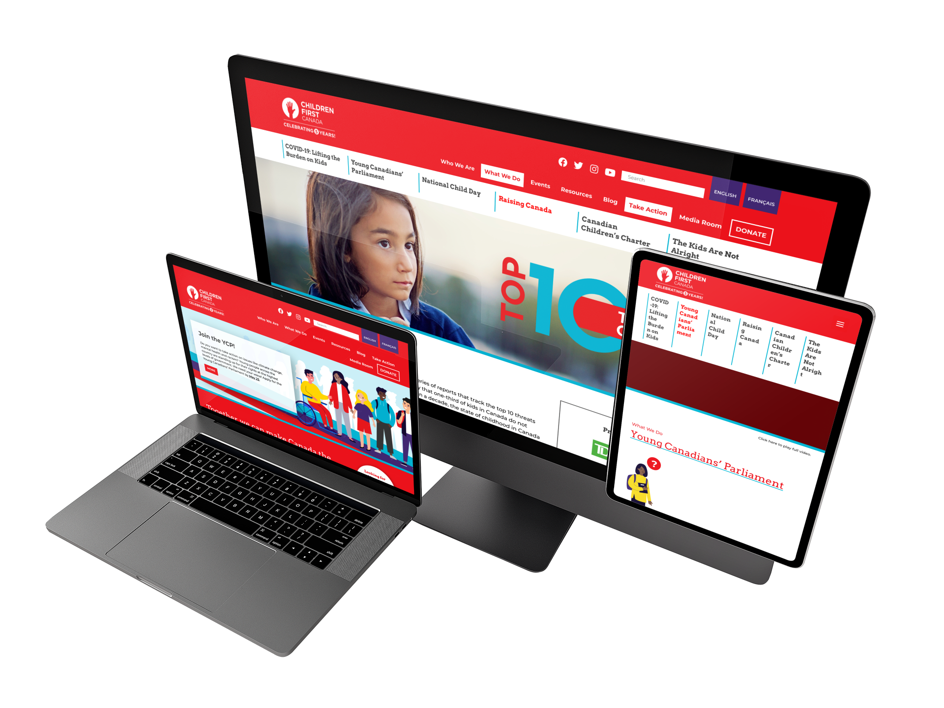 Children First Canada website mockup created by WebSuitable