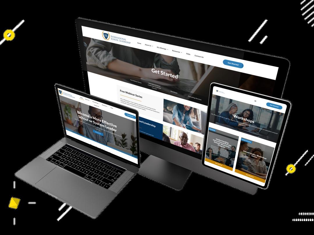 International School Leadership website mockup created by WebSuitable