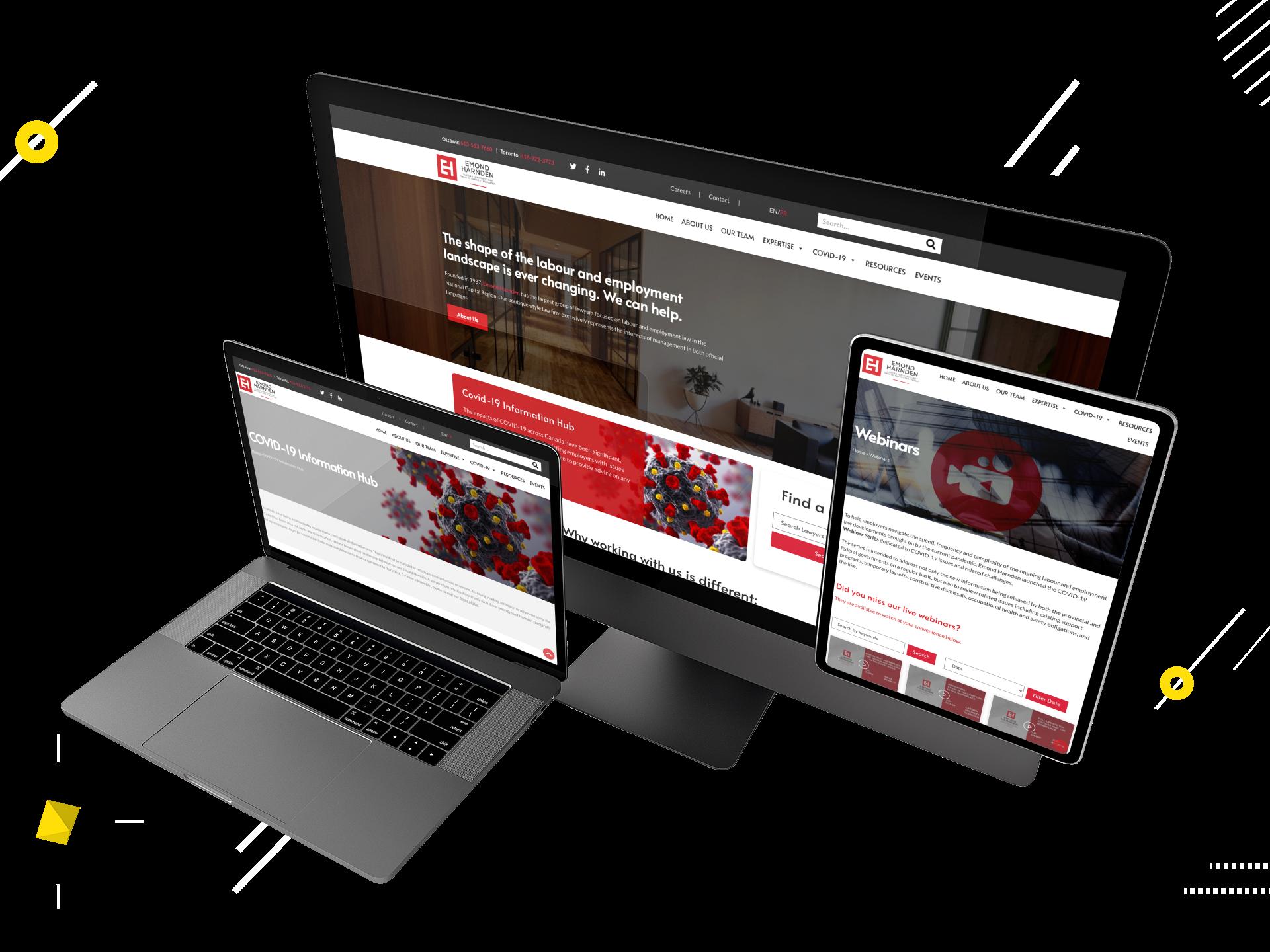 Emond Harden website mockup created by WebSuitable