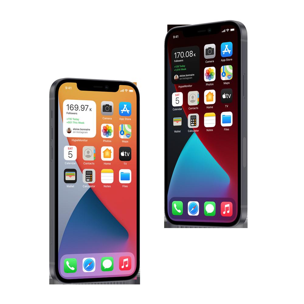 Two phone mockups displaying the widget