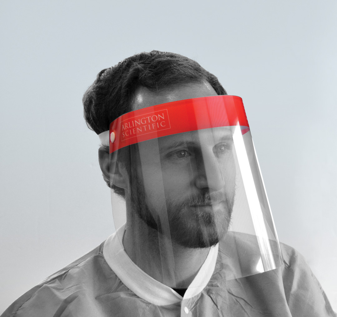 Single use face shield offers eyes, nose and mouth protection from aerosols.