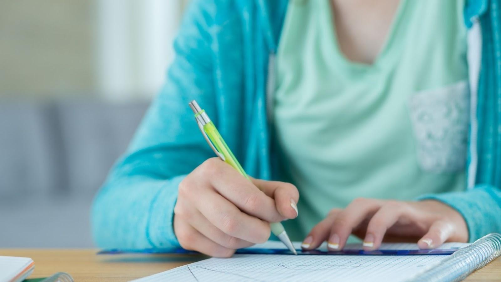student doing a math assignment