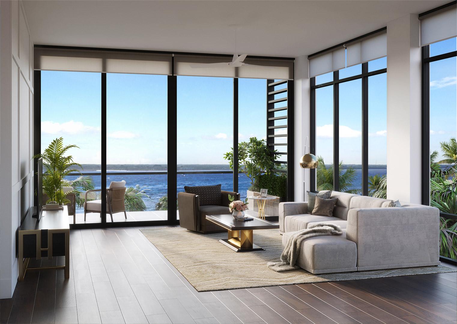 Living room's rendering of the Hudson floor plan