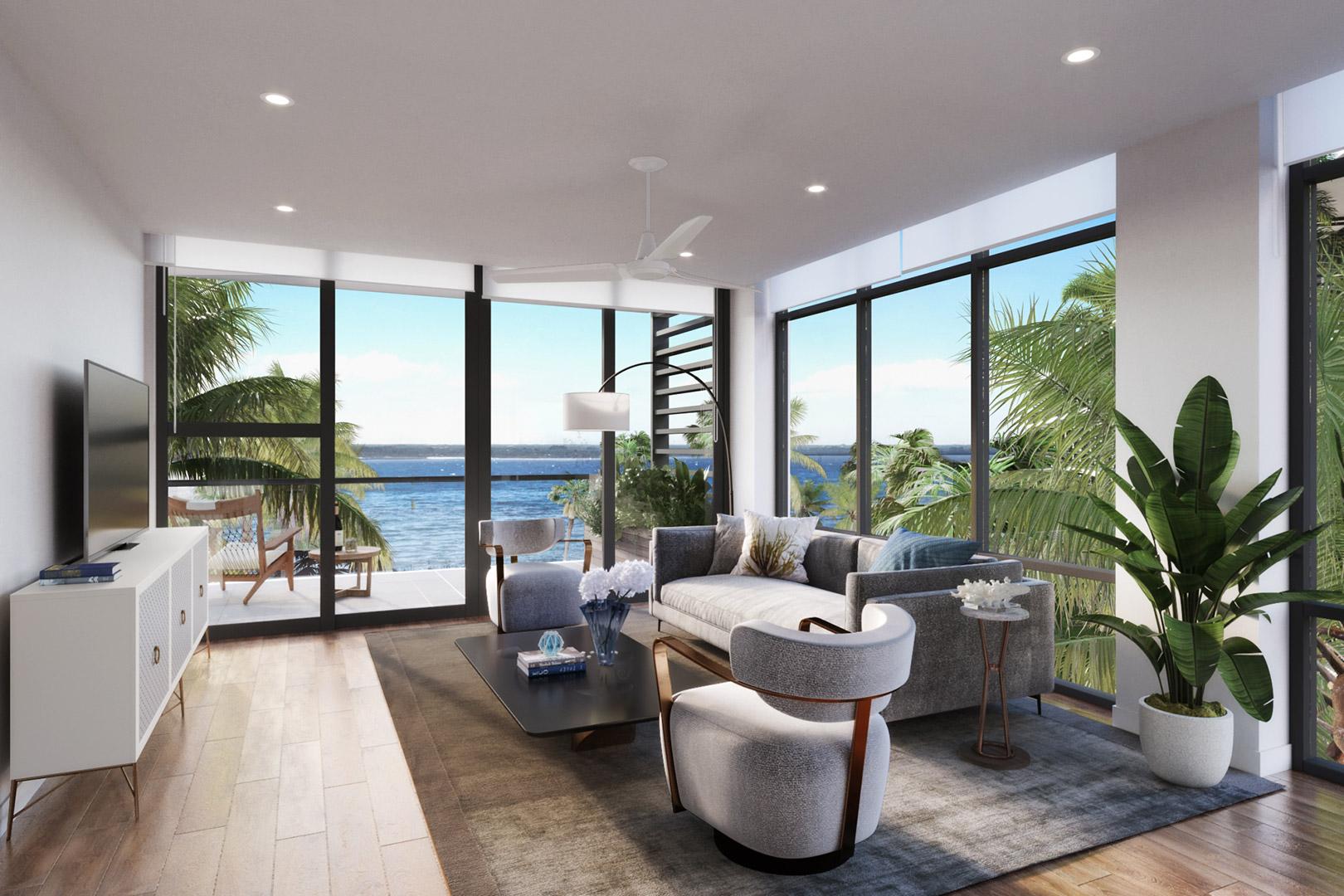 Living-room's rendering of the Marina floor plan