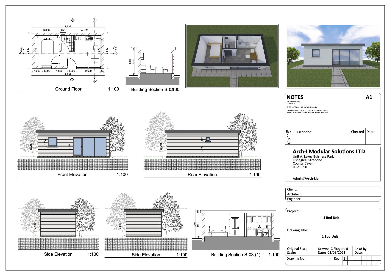Design plans for a modular unit