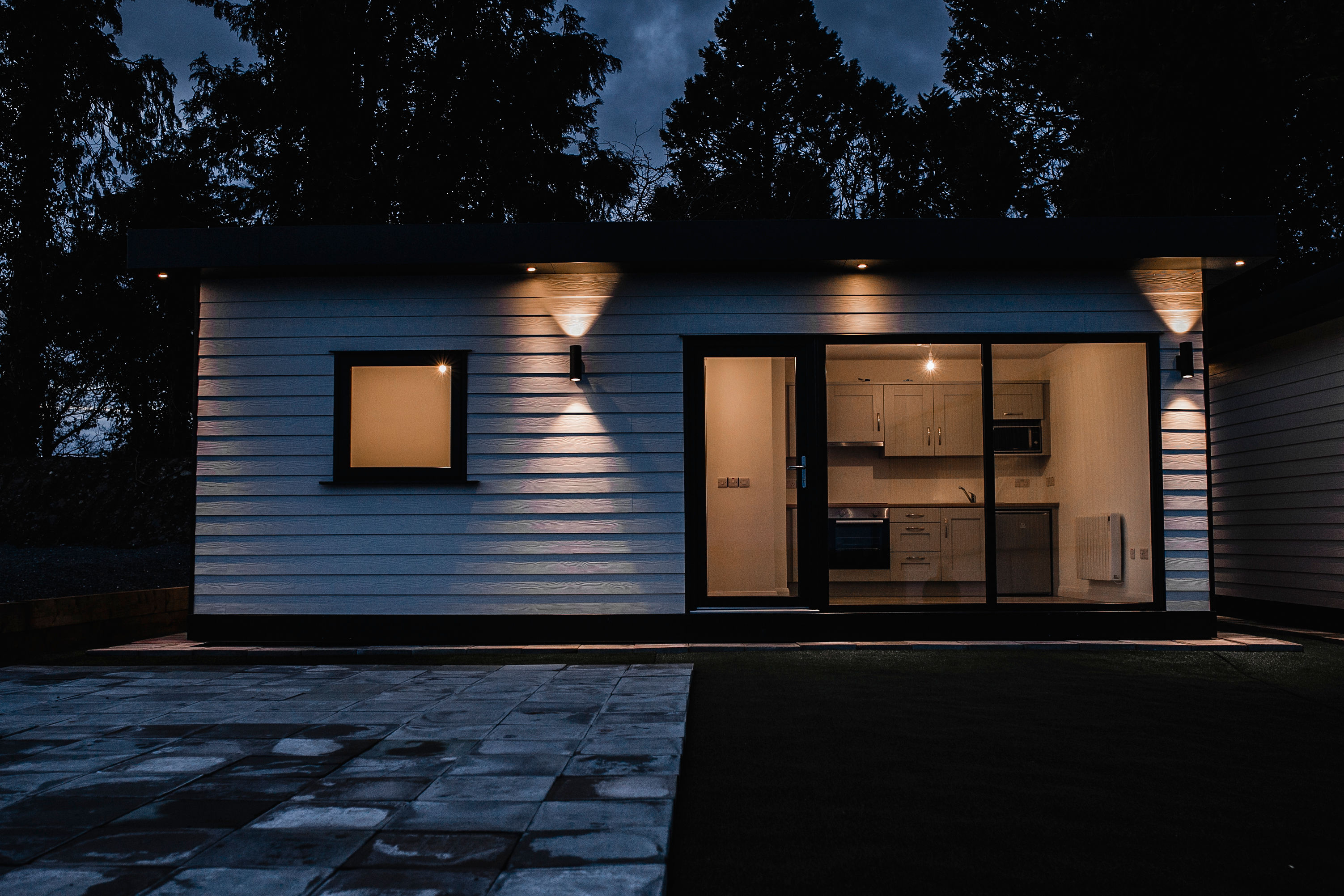 Night Time view of one bedroom modular unit