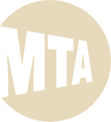 MTA Oval Shaped logo with the words MTA moving toward the center.