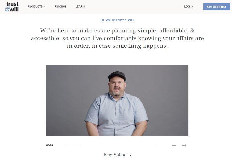 trustandwill homepage