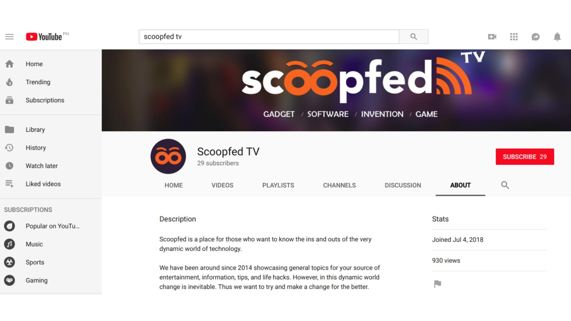 Complete YouTube profile