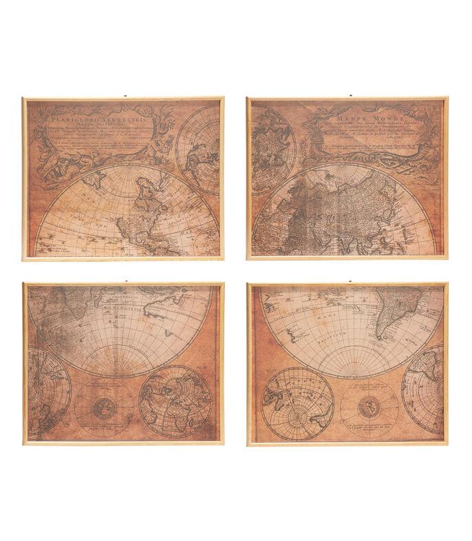 El Libro Amarillo - set de cuatro cuadros decorativos, Mapamundi, Marmol Gallery