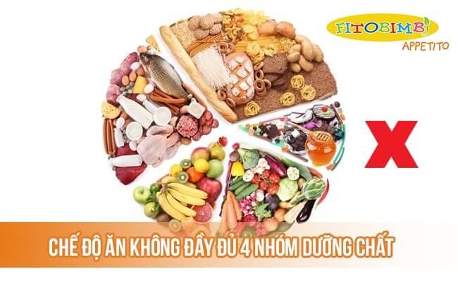 Chế độ ăn không đầy đủ 4 nhóm dưỡng chất