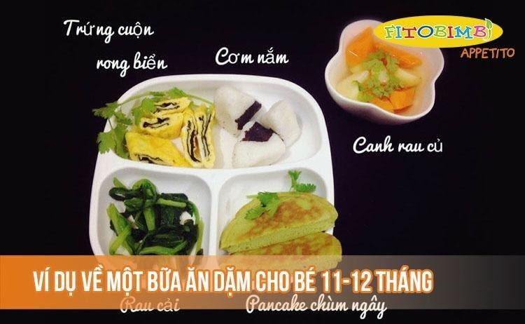 Ví dụ về thực đơn cho bé 11-12 tháng biếng ăn