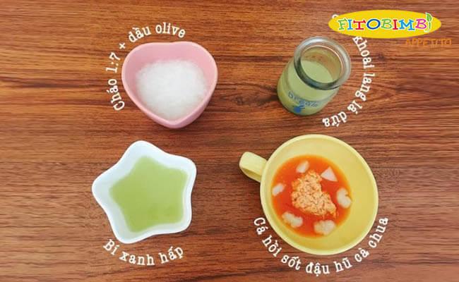 Ví dụ về một bữa ăn dặm kiểu Nhật cho bé 7-8 tháng tuổi