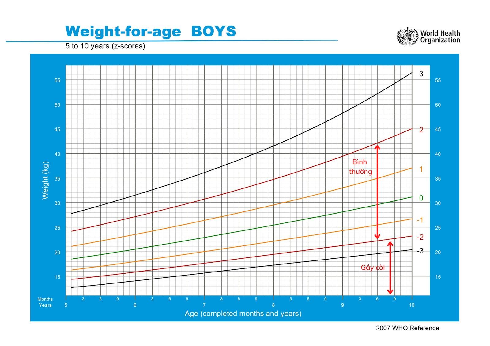 Biểu đồ tham chiếu cân nặng ở trẻ trai 5 – 10 tuổi