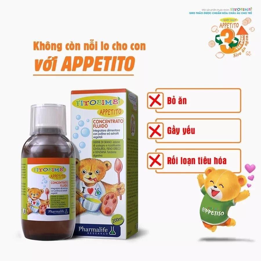 Siro ăn ngon của Appetito có thành phần 100% từ thảo dược tự nhiên, rất an toàn với bé