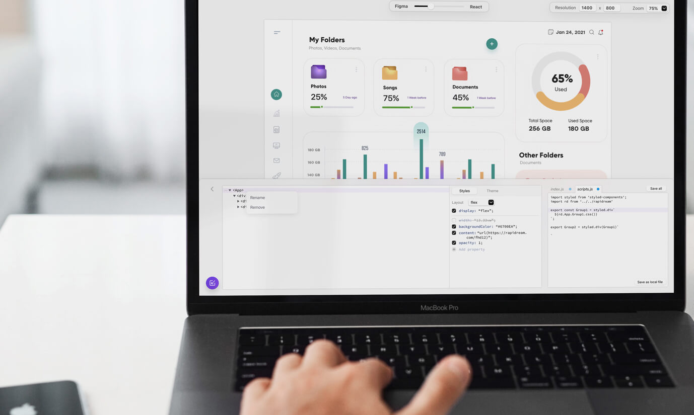 Rapidream is a breakthrough Figma to React technology. Lumi Design helped with company growth and strategy