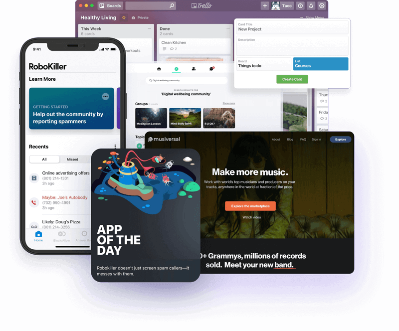 Showcase of apps Lumi worked on