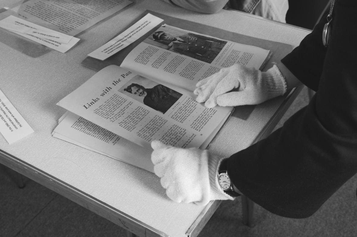 "An item being viewed in the George Padmore Institute's archive. titled ""Links with the past"""