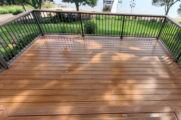 residential deck cleaned by pressure washing