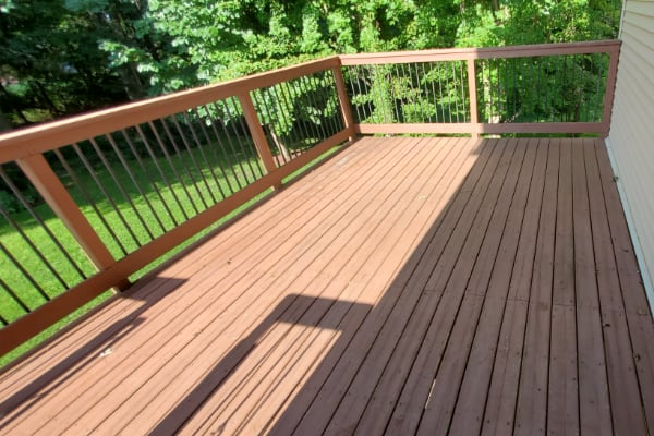 residential deck before cleaned by pressure washing