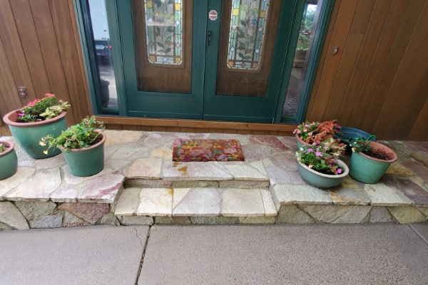 residential patio cleaned by pressure washing