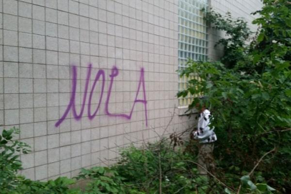 public property before graffiti removal