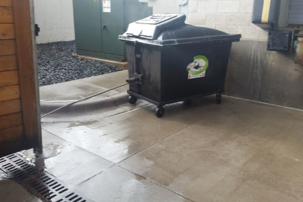 business dumpster area cleaned by pressure washing