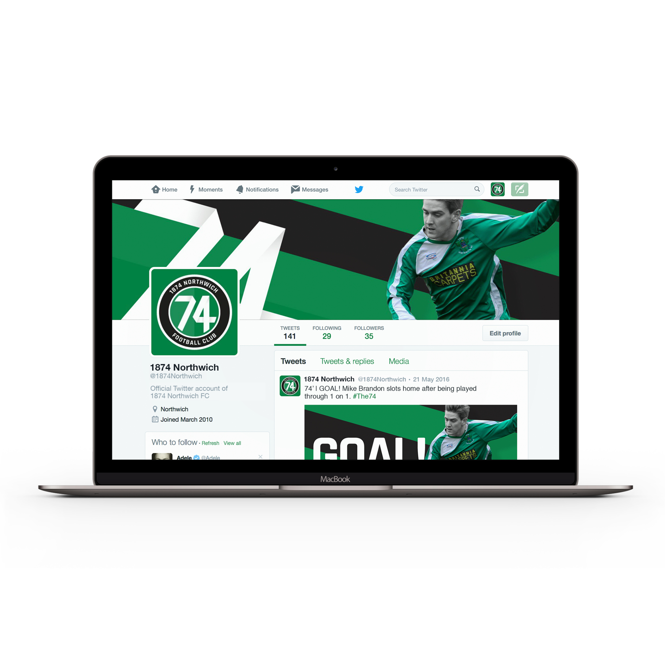 1874 Northwich Football Club visual identity by Ben Clark Design