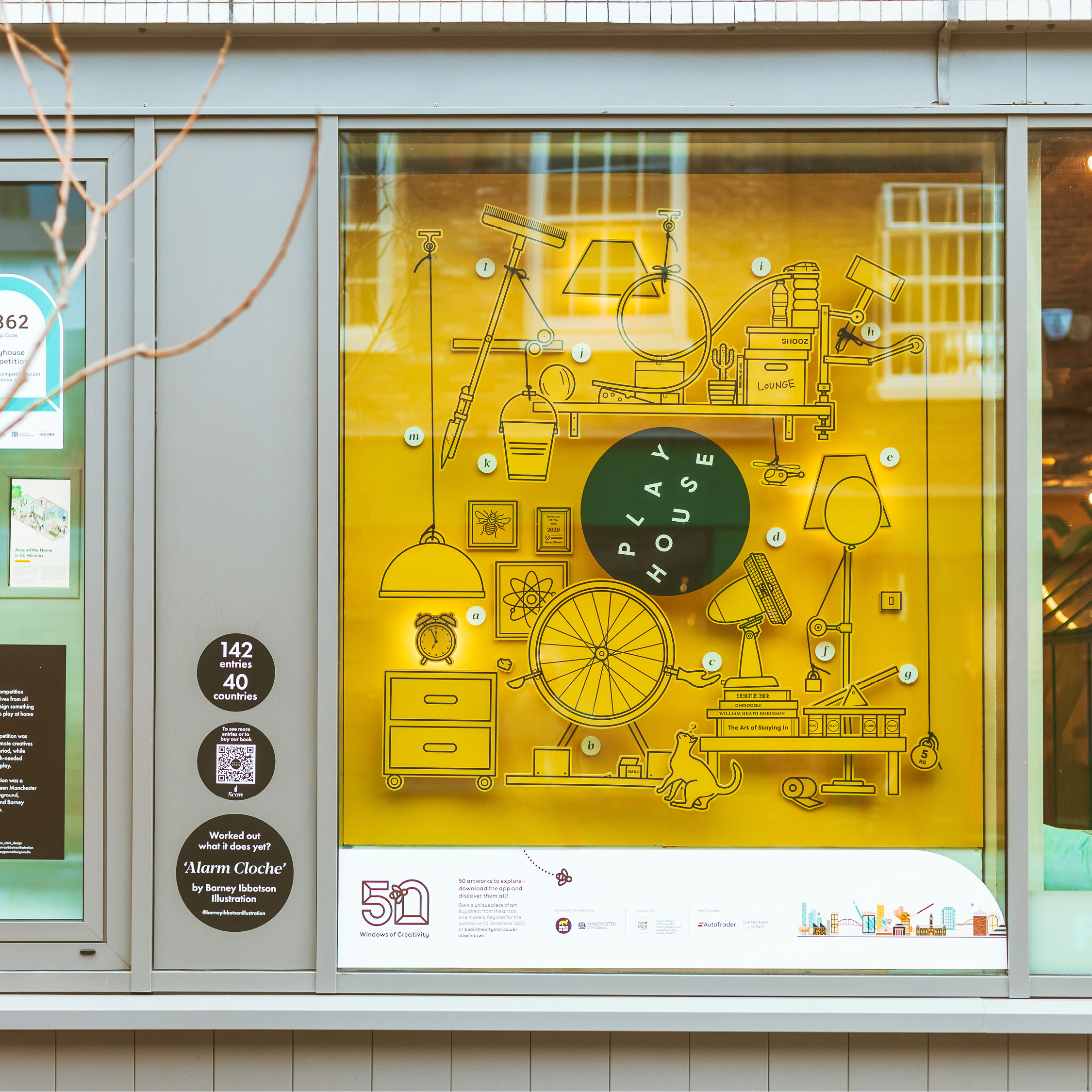 Playhouse design competition window as part of Windows of Creativity in Manchester