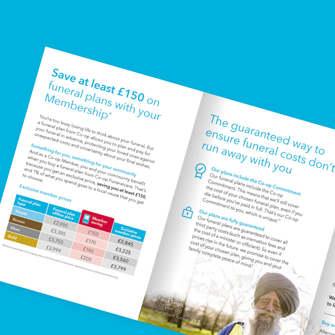 Direct mail campaign for Co-op Funeral Care