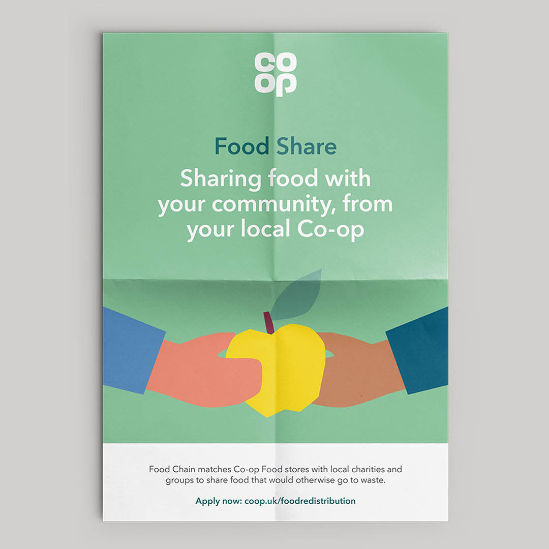 Poster highlighting Co-op's Food Share initiative.