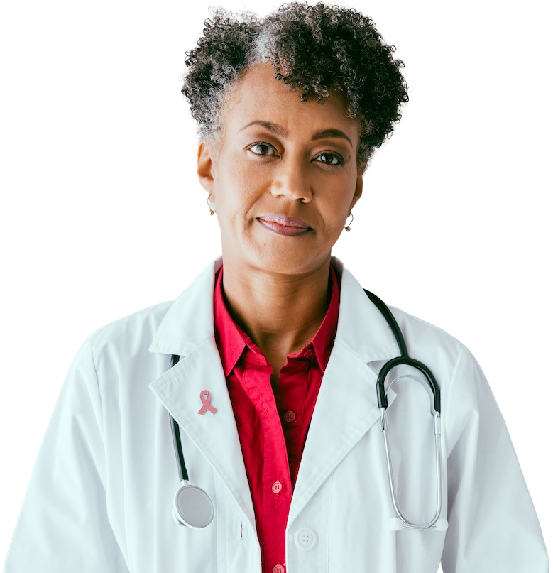 Black female physician looking out at the viewer