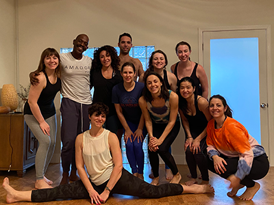 Yoga students with chicago yoga teacher