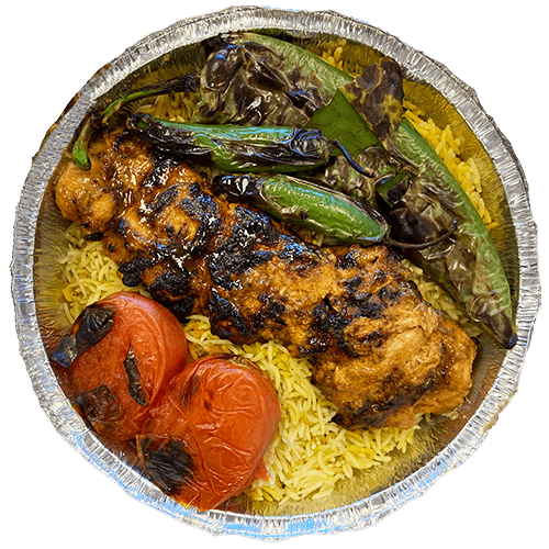 An image of grilled chicken tenders on a bed of Saffron Basmati Rice with two grilled tomatoes and a grilled Poblano pepper.
