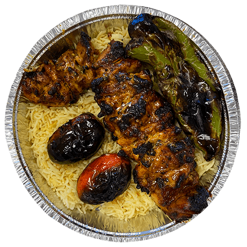 Farm-fresh boneless and skinless chicken thighs, seasoned, marinated with onions and spices, charbroiled to perfection over a mesquite flame.