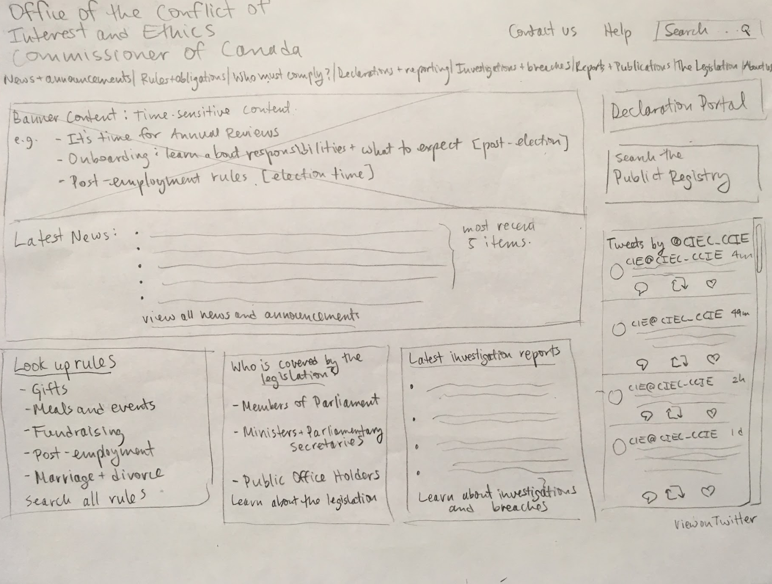 A wireframe of a new website design drawn on paper.