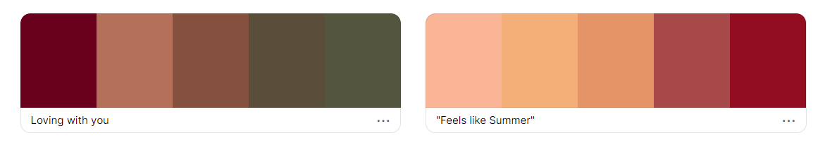A preview of two colour palettes. The first palette contains the colours burgundy, peach, brown and 2 shades of dark green. The second palette contains the colours peach, yellow-orange, pink and red.