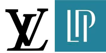 Louis Vuitton Logo. Source:  logo-logos.com  and Luxury Portfolio International Logo. Source:  Fit Small Business