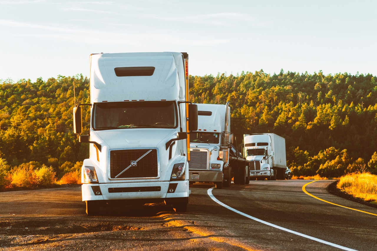 Three transport trucks parked on a road in single file. There is a forest in the background.