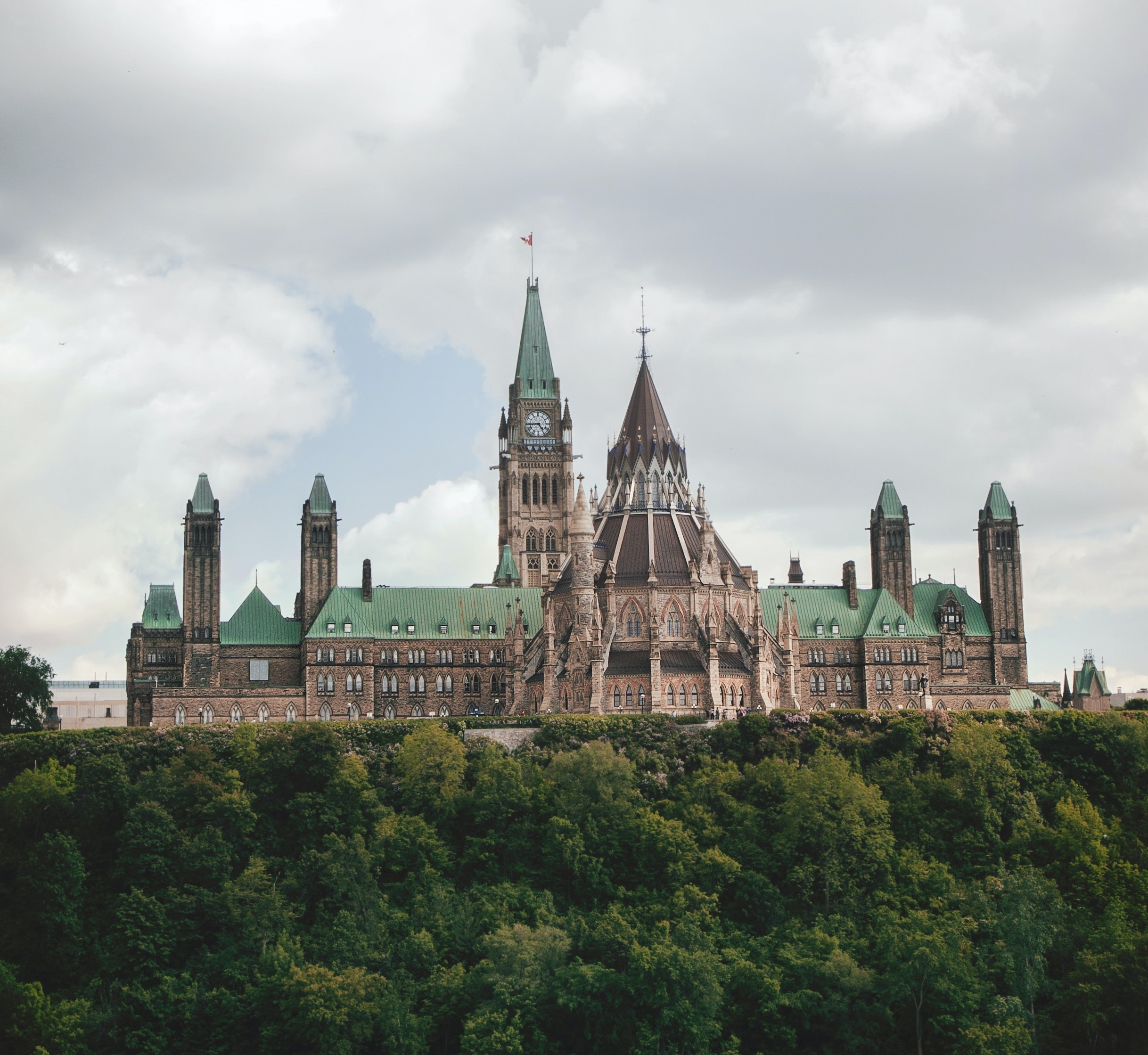 A side view of Canada's Parliament Hill from Major Hill's Park.
