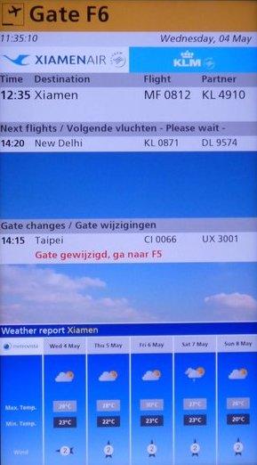 Gate display at Schiphol Airport