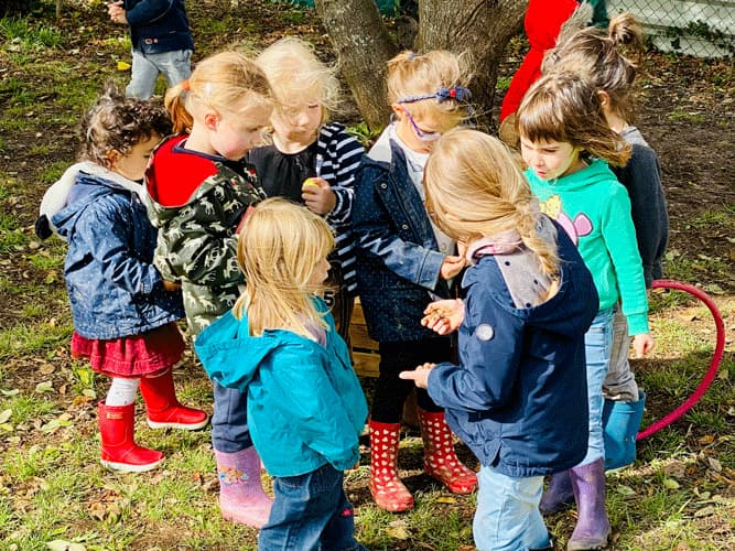 Récréation dans la cour de l'école
