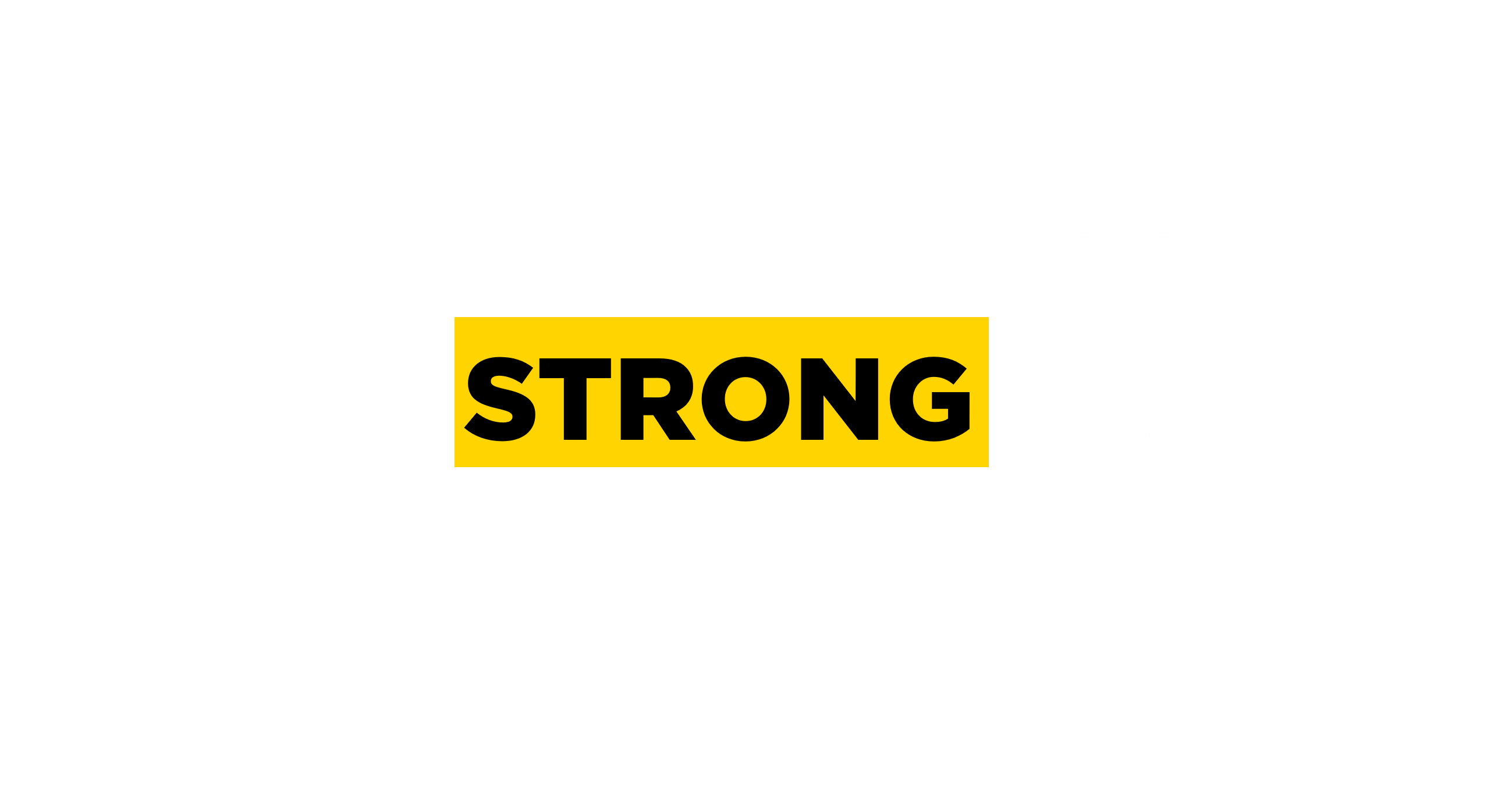Word cloud with strong, mythology, innovative, European, international, trustworthy, real, pragmatic, smart, calm, balanced, technological, digital, resistant